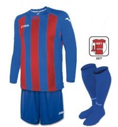 Set equipacion manga larga futbol pisa 12 azul royal-rojo